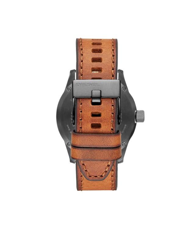 Diesel Rasp Silver Dial Quartz  With Brown Strap
