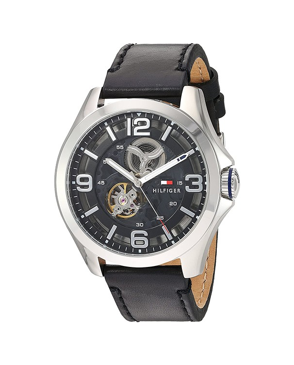 Tommy Hilfiger Bruce Automatic Black Dial And Leather Strap Men's Watch