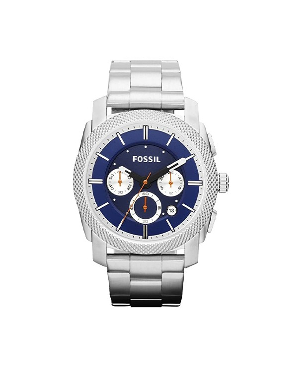 Fossil Machine with Blue Dial & Silver Band Men's Watch