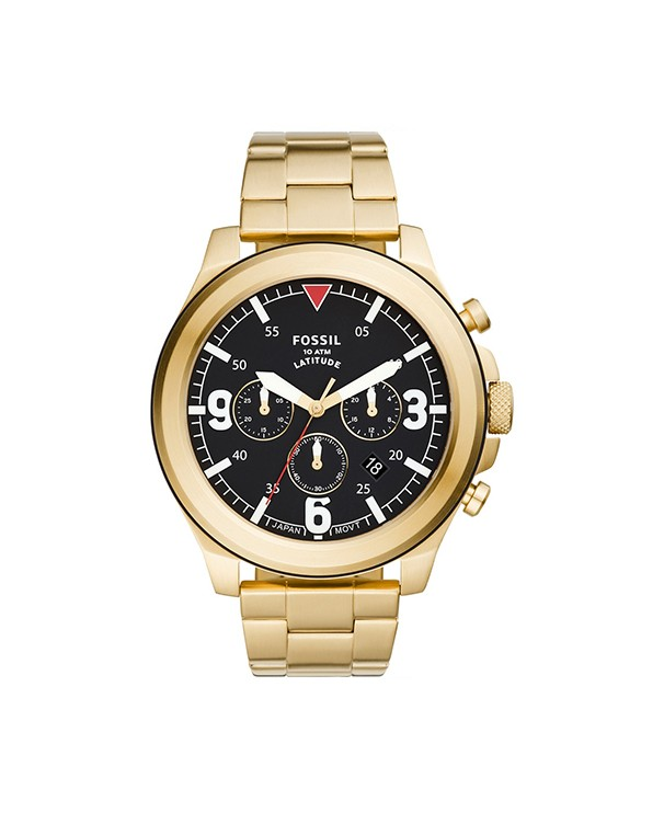Fossil Latitude Stainless Steel IP Gold Bracelet & Chronograph Men's Watch