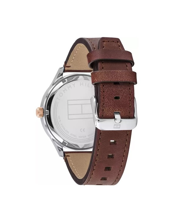 Tommy Hilfiger Spencer Mechanical Automatic With Brown Starp Me's Watch