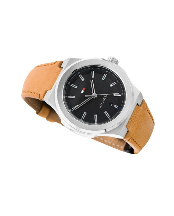 TOMMY HILFIGER Princeton Black Dial with Brown Leather Strap Men's Watch
