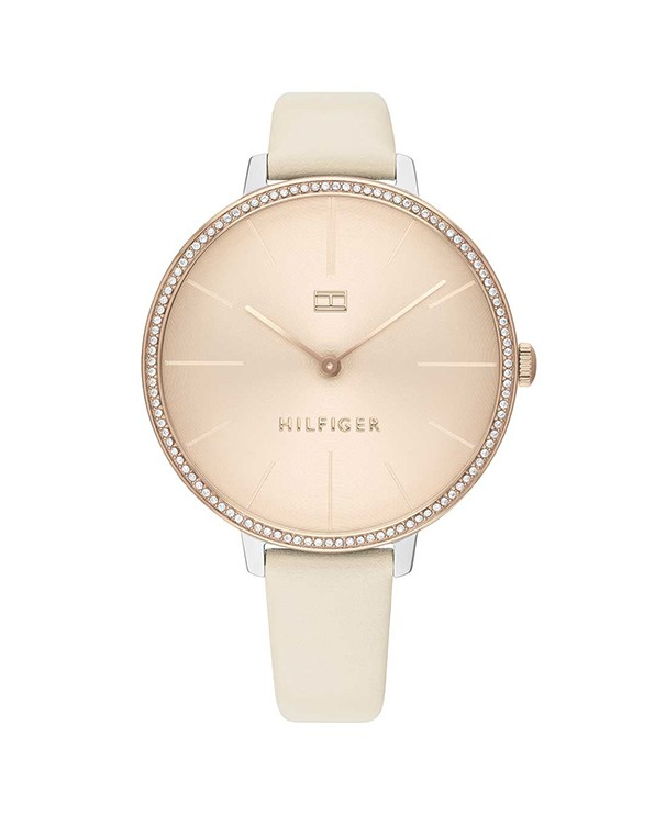 TOMMY HILFIGER Kelly Beige Colour Leather Strap with Stainless Steel