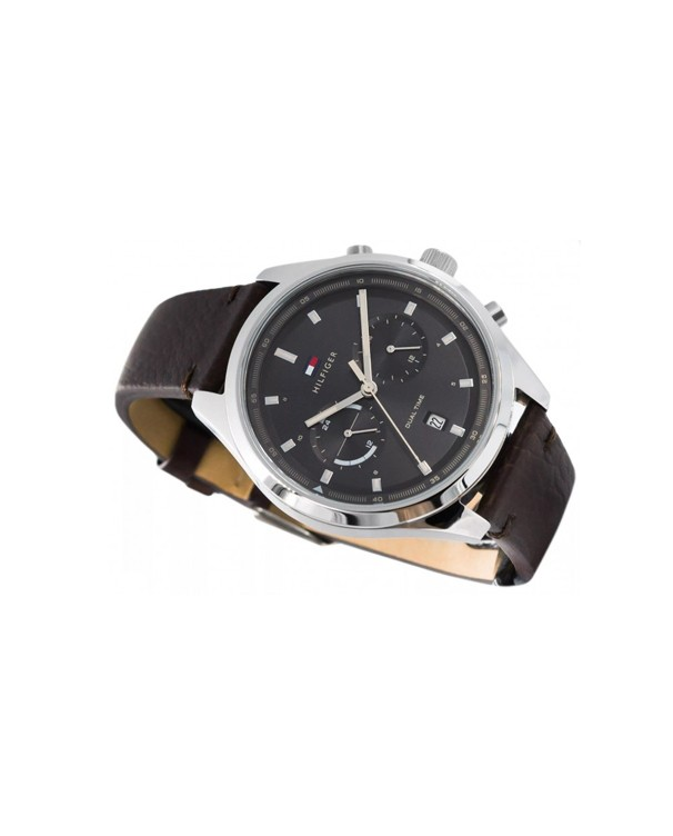 Tommy Hilfiger Quartz Dual Time Data With Leather Strap Men's Watch
