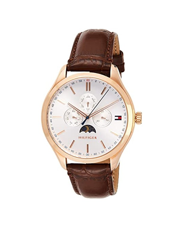 TOMMY HILFIGER Analogue White Dial With Brown Leather Starp Men's Watch