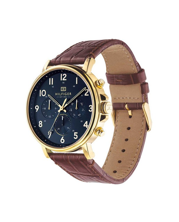 TOMMY HILFIGER Daniel Blue Dial Chronograph with Brown Leather Strap Men's Watch