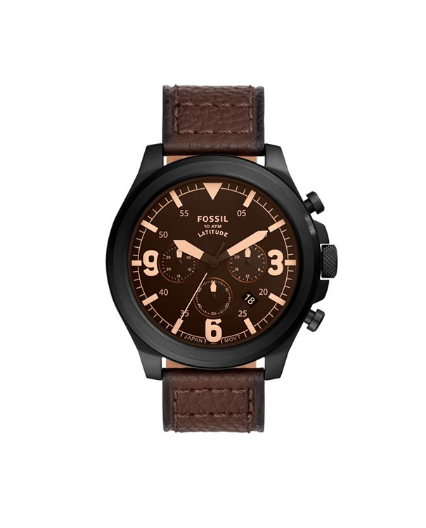 Fossil Latitude with Brown Dial Leather Strap Analog Men's Watch