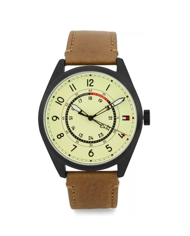 TOMMY HILFIGER Dylan SS IP Black with Brown leather Strap Men's Watch